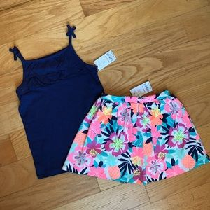 NWT Carter's floral Scooter Skirt w/ Navy tank